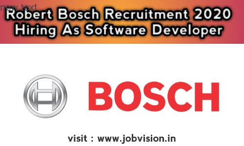 Robert Bosch Recruitment 2020 Hiring As Software Developer