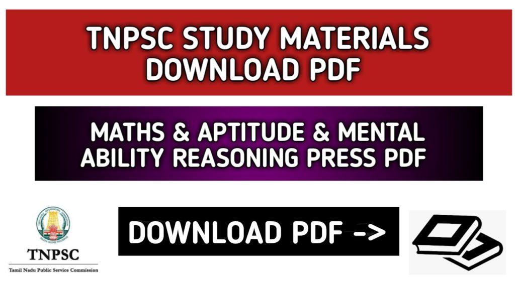 TNPSC Maths Study Material Aptitude and Mental Reasoning Material