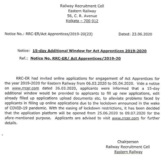 Eastern Railway Notification 2020 | 2792 Apprentices , Electrician Posts | last date 09.07.2020 ( Extend )