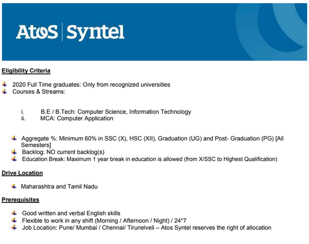ATOS Syntel Off Campus Drive 2020 | Software Engineer | B.E / B.Tech , MCA | Chennai , Mumbai , Pune