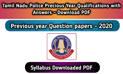 TN Police Constable Previous Question Paper PDF